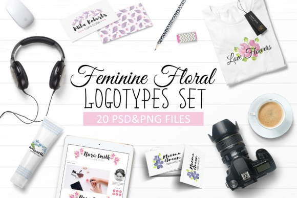Handpainted Feminine Floral Logos Set Graphic By switzershop