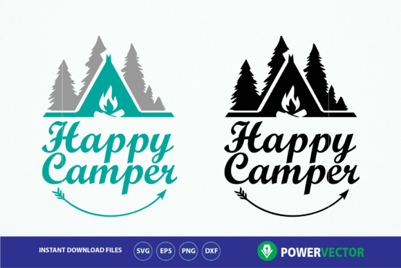 Happy Camper Vector Print Cut File Graphic By Powervector
