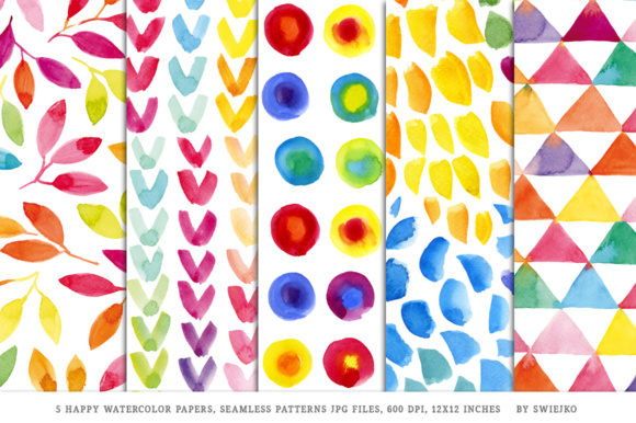 Print on Demand: Happy Watercolor Papers Graphic Patterns By swiejko