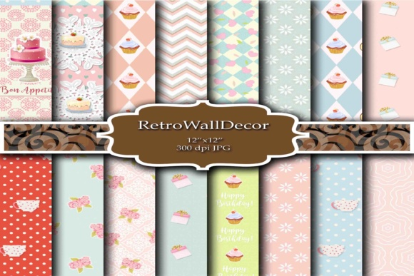 Print on Demand: Happy Birthday Paper Graphic Backgrounds By retrowalldecor