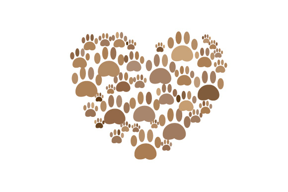 Download Free Heart Made Out Of Paw Prints Dog Design Svg Cut File By for Cricut Explore, Silhouette and other cutting machines.