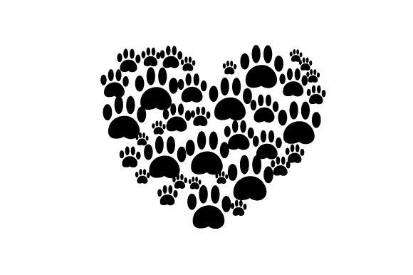Heart Made out of Paw Prints. Dog Design Cut File Download