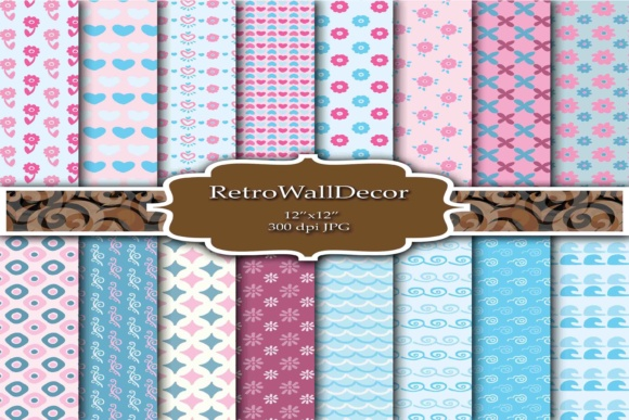 Print on Demand: Hearts Digital Papers Graphic Backgrounds By retrowalldecor