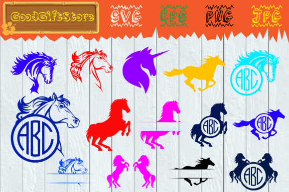 Download Free Horse Monogram Frames Svg Graphic By Piedesigner Creative Fabrica for Cricut Explore, Silhouette and other cutting machines.