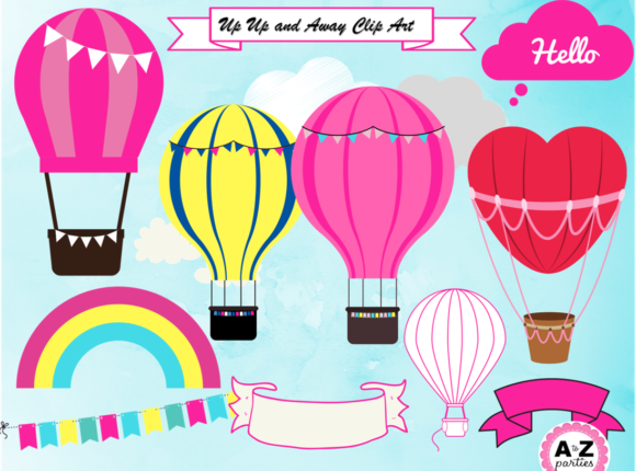 Print on Demand: Hot Air Balloon Clip Art PNG Graphic Illustrations By A to Z Parties