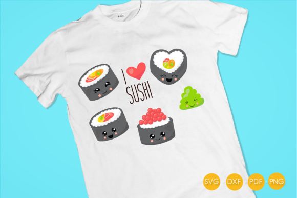 I Love Sushi Graphic Crafts By PrettyCuttables - Image 2