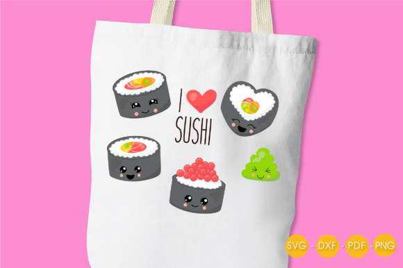 I Love Sushi Graphic Crafts By PrettyCuttables - Image 3