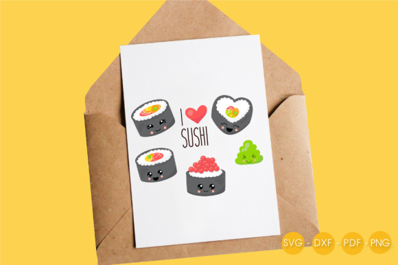 I Love Sushi Graphic Crafts By PrettyCuttables - Image 4