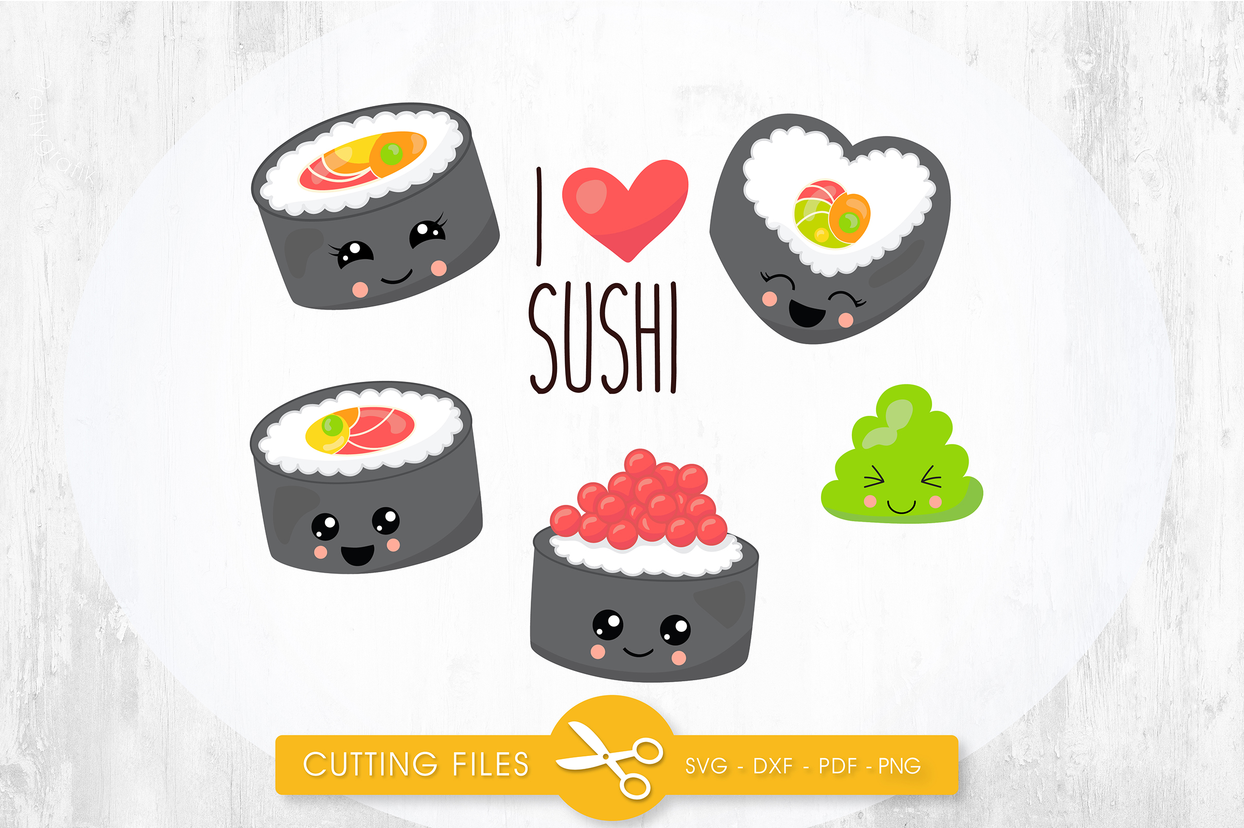 Download Free I Love Sushi Graphic By Prettycuttables Creative Fabrica for Cricut Explore, Silhouette and other cutting machines.