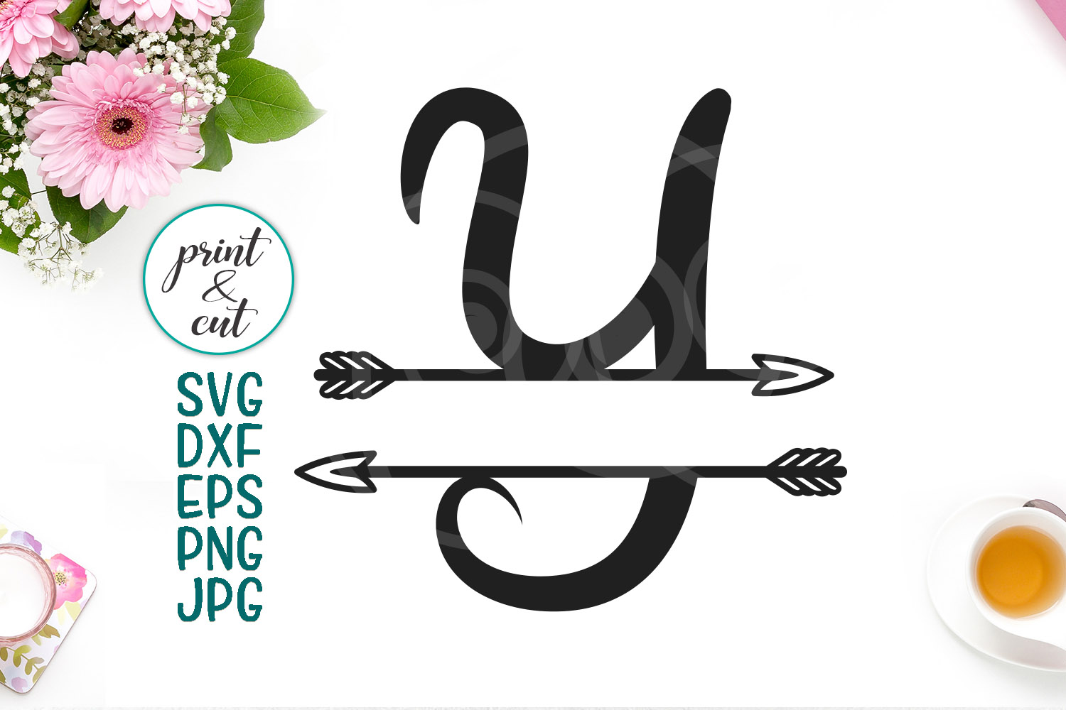 Download Free Individual Letter Y Monogram Letters With Arrows Graphic By for Cricut Explore, Silhouette and other cutting machines.