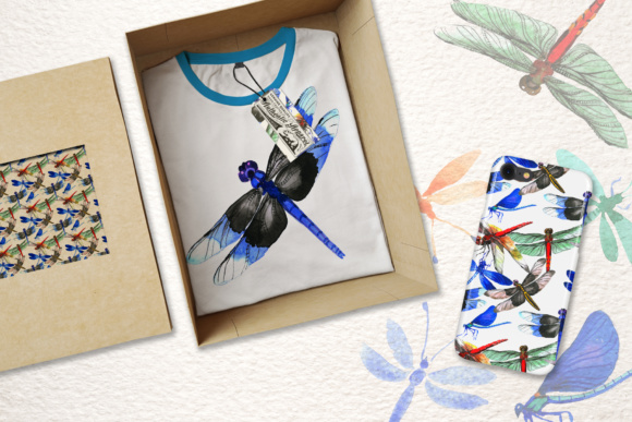 Print on Demand: Insect Dragonfly PNG Watercolor Set Graphic Illustrations By MyStocks - Image 2