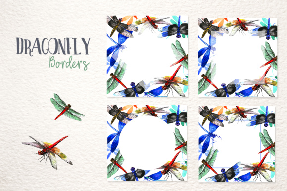 Print on Demand: Insect Dragonfly PNG Watercolor Set Graphic Illustrations By MyStocks - Image 9