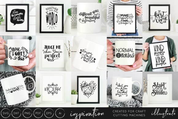 Print on Demand: Inspirational Quotes Bundle Graphic Crafts By illuztrate