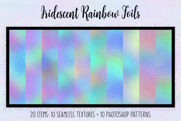 Print on Demand: Iridescent Rainbow Foils Grafik Texturen von JulieCampbellDesigns
