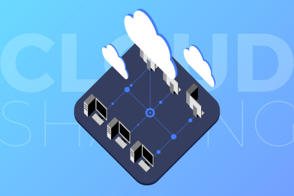 Isometric Cloud Sharing Graphic Illustrations By KitCreativeStudio