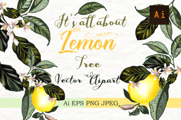 It's All About Lemon. Vector Clipart Graphic Objects By fleurartmariia