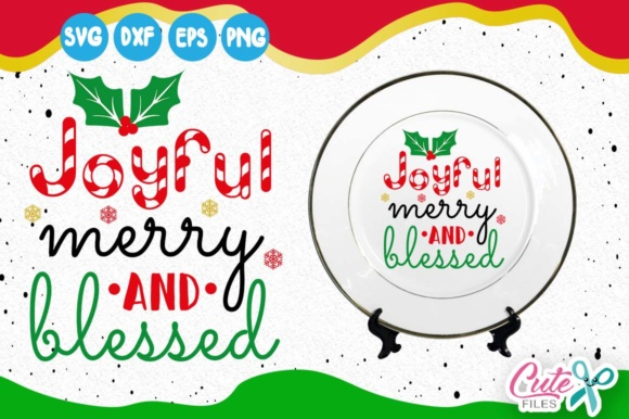 Joyful Merry and Blessed, Candy Cane, Holly Leaves Graphic Illustrations By Cute files