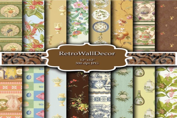 Print on Demand: Kitchen Digital Papers Graphic Backgrounds By retrowalldecor