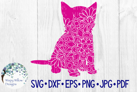 Download Free Kitten Cat Floral Animal Mandala Cut File Graphic By for Cricut Explore, Silhouette and other cutting machines.