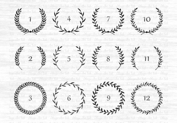 Download Free Laurel Wreaths Graphic By Magicartlab Creative Fabrica for Cricut Explore, Silhouette and other cutting machines.
