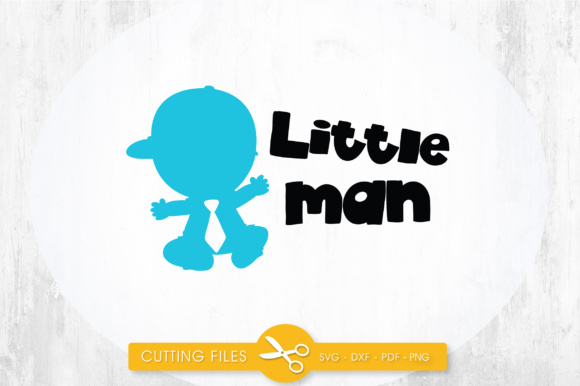 Little Man Blue Graphic Crafts By PrettyCuttables