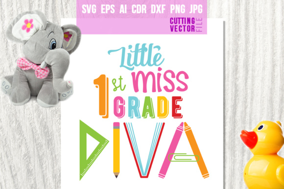 Little Miss 1st Grade Diva Graphic Crafts By danieladoychinovashop - Image 1