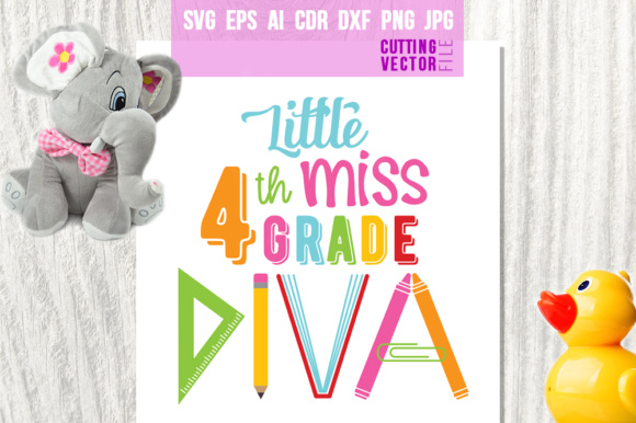 Little Miss 4th Grade Diva Graphic Crafts By danieladoychinovashop