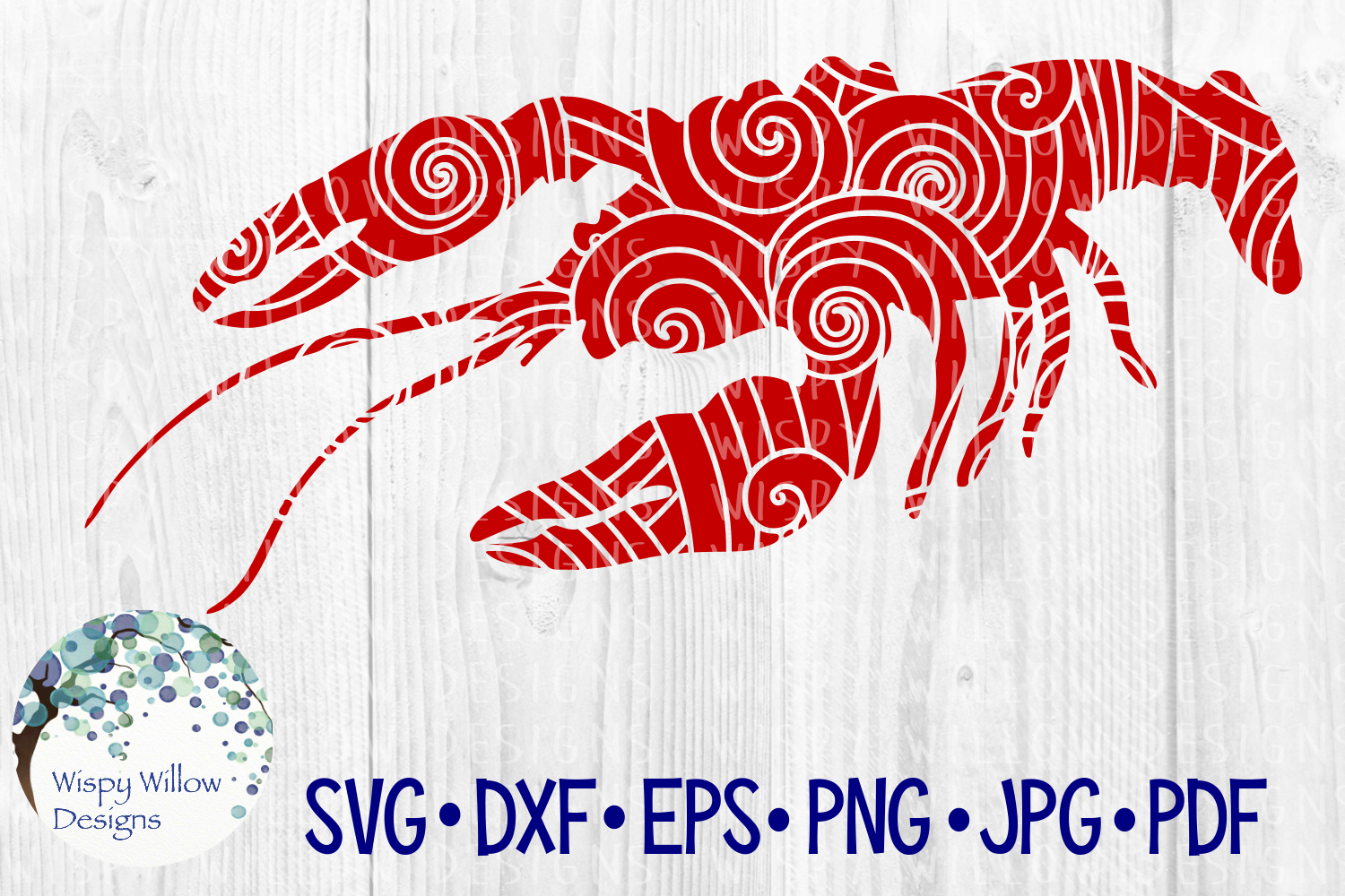 Download Free Lobster Zentangle Sea Animal Graphic By Wispywillowdesigns for Cricut Explore, Silhouette and other cutting machines.