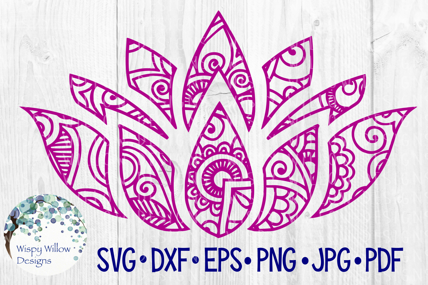 Download Free Lotus Flower Peace Zentangle Mandala Cut File Grafico Por for Cricut Explore, Silhouette and other cutting machines.