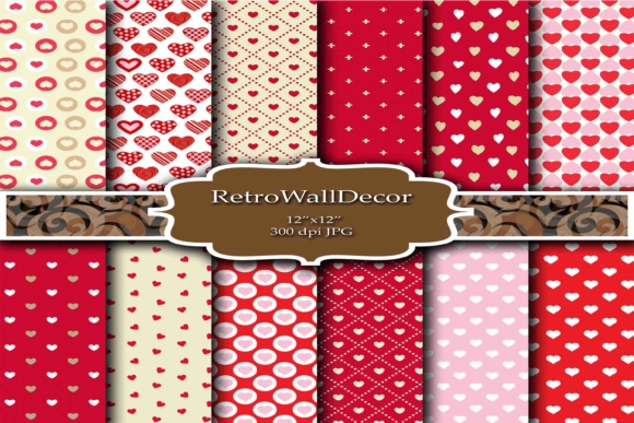 Print on Demand: Love Digital Papers Graphic Backgrounds By retrowalldecor