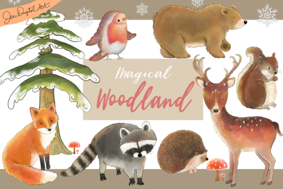 Magical Woodland -11 Illustrations|animals and Elements Graphic By Jen Digital Art