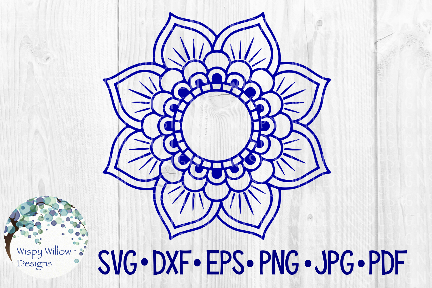 Download Free Mandala Flower Border Name Monogram Circle Frame Cut File for Cricut Explore, Silhouette and other cutting machines.