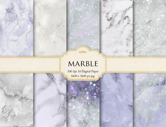 Print on Demand: Marble Digital Paper Graphic Textures By Creative Paper