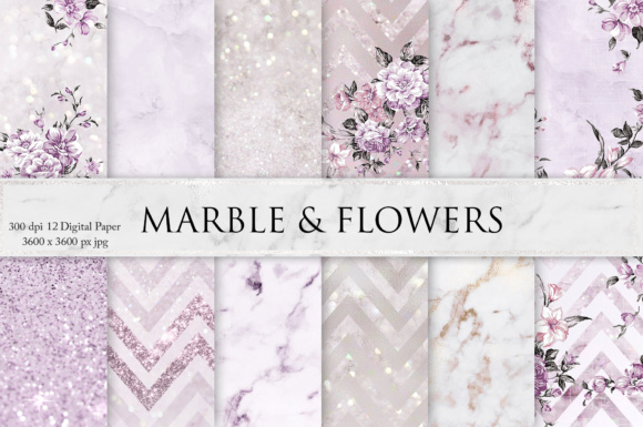 Print on Demand: Marble, Flowers, Glitters & Textures Graphic Textures By Creative Paper