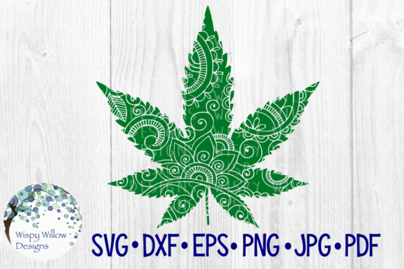 Marijuana Pot Leaf Zentangle Graphic Crafts By WispyWillowDesigns