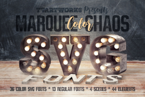 Marquee Chaos View - Color Fonts Graphic Product Mockups By tvartworks