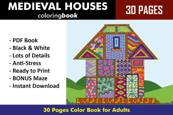 Medieval Houses Coloring Book - 30 Unique Coloring Pages Graphic Coloring Pages & Books Adults By ColoringBooks101
