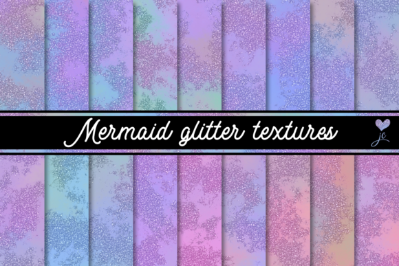 Print on Demand: Mermaid Glitter Textures Graphic Textures By JulieCampbellDesigns