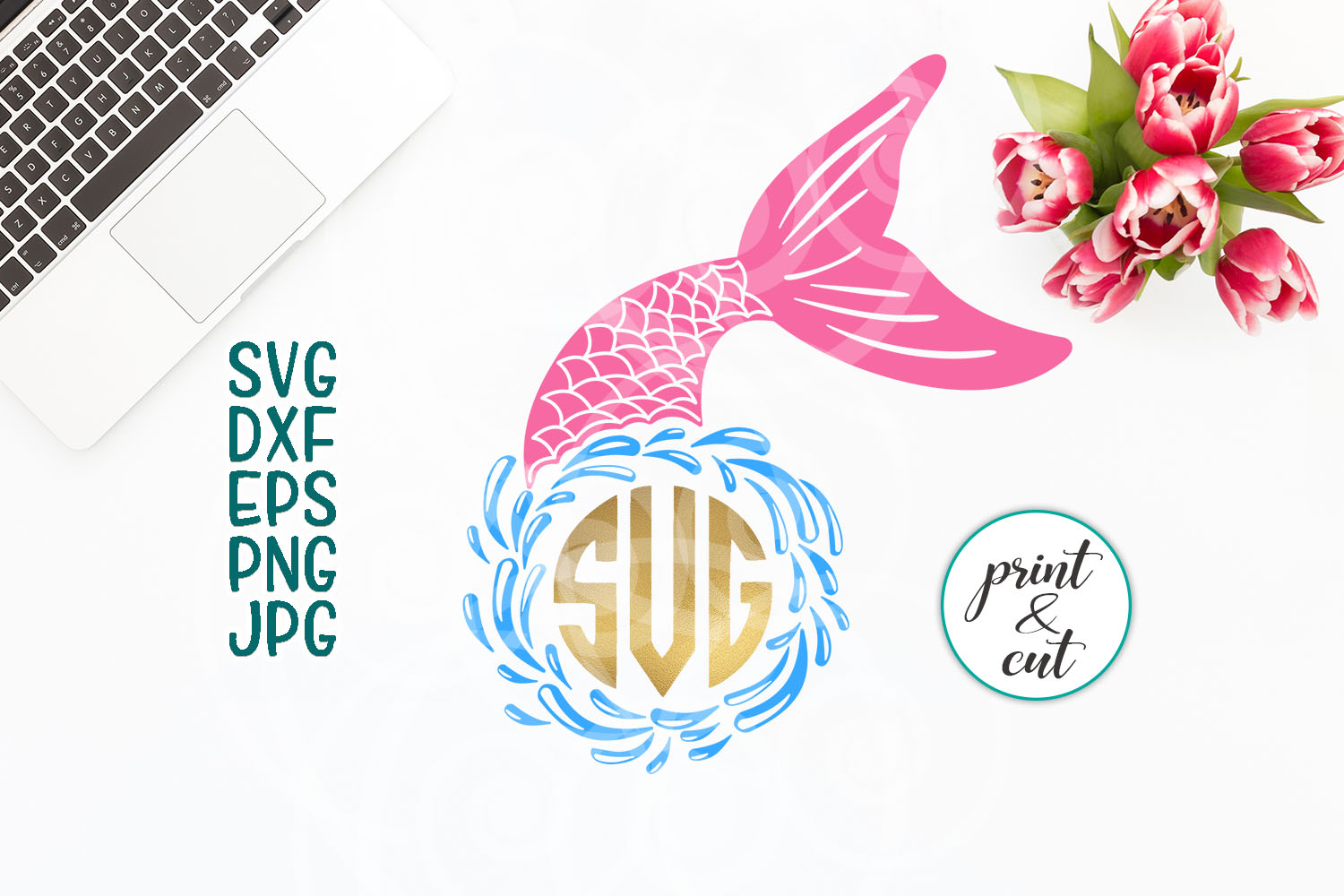 Download Free Beach Mermaid Monogram Graphic By Cornelia Creative Fabrica for Cricut Explore, Silhouette and other cutting machines.