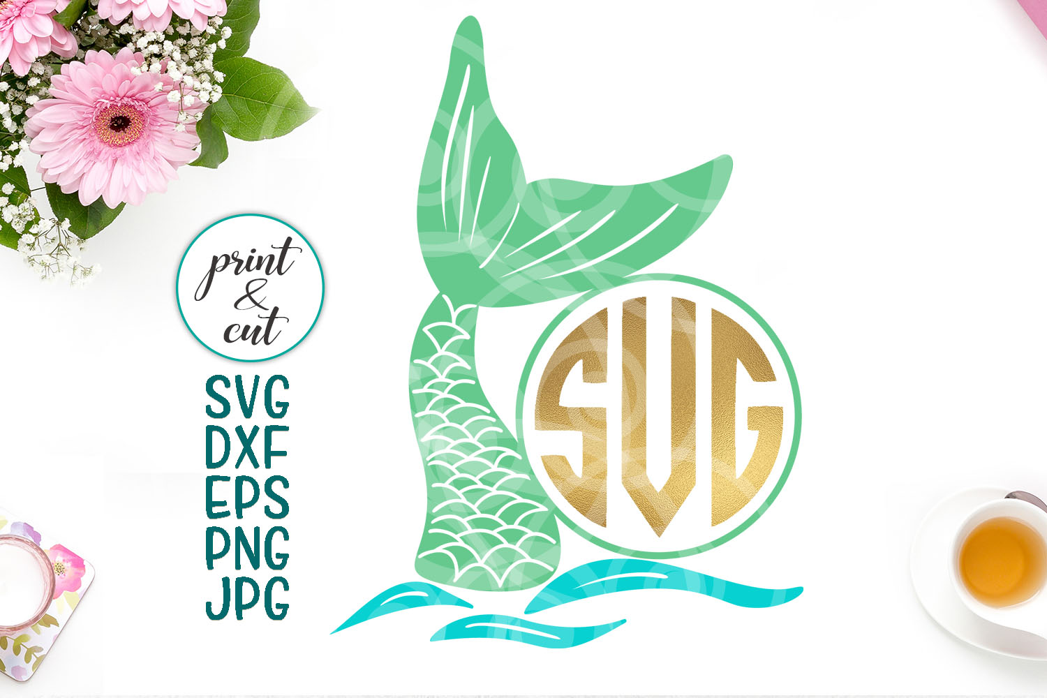 Download Free Mermaid Monogram Mermaid Tail Mermaid Monogram Fish Fish Tail for Cricut Explore, Silhouette and other cutting machines.