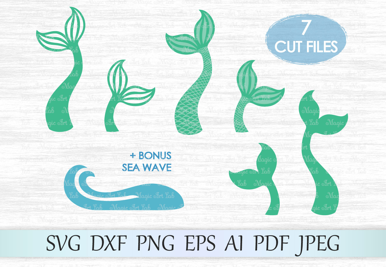 Download Free Mermaid Tail Graphic By Magicartlab Creative Fabrica for Cricut Explore, Silhouette and other cutting machines.