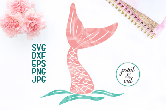 Download Free Hand Drawn Mermaid Tail Graphic By Cornelia Creative Fabrica for Cricut Explore, Silhouette and other cutting machines.