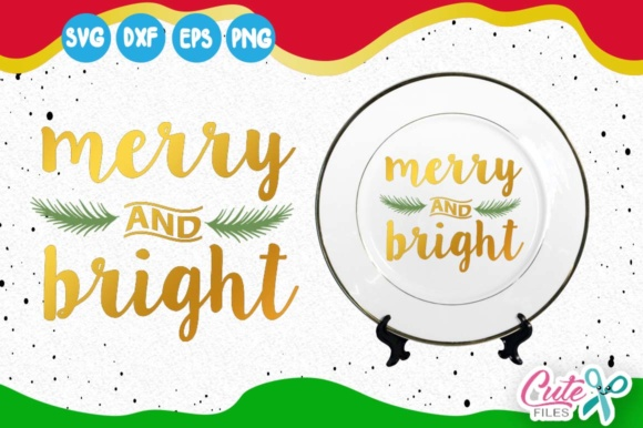Merry and Bright, Mistletoe Leaves, Merry Christmas Graphic Illustrations By Cute files