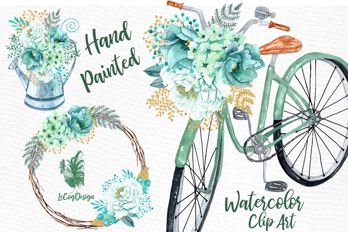 Mint Watercolor Flowers WATERCOLOR CLIPART Spring Flowers ...