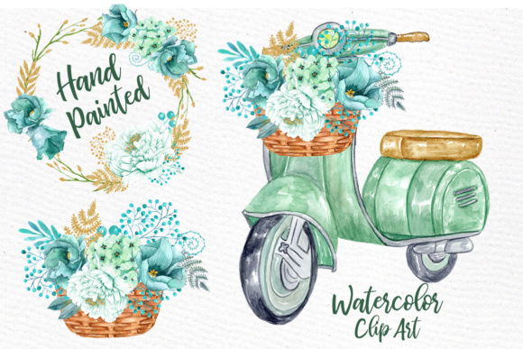 Download Free Mint Watercolor Flowers Watercolor Clipart Spring Flowers Wedding SVG Cut Files