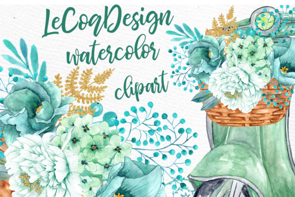 Mint Watercolor Flowers Watercolor Clipart Spring Flowers Wedding Clipart Floral Clipart Floral Wreaths