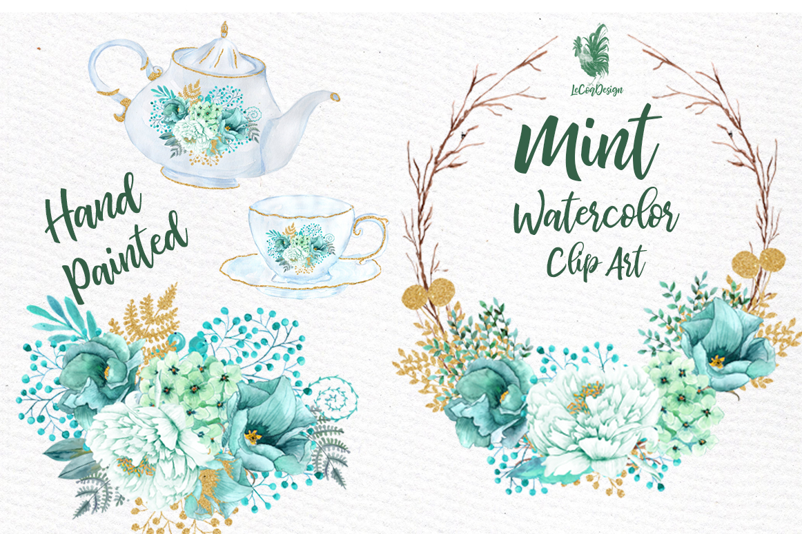 Mint Watercolor Clipart Watercolor Flowers Wedding Clipart Floral