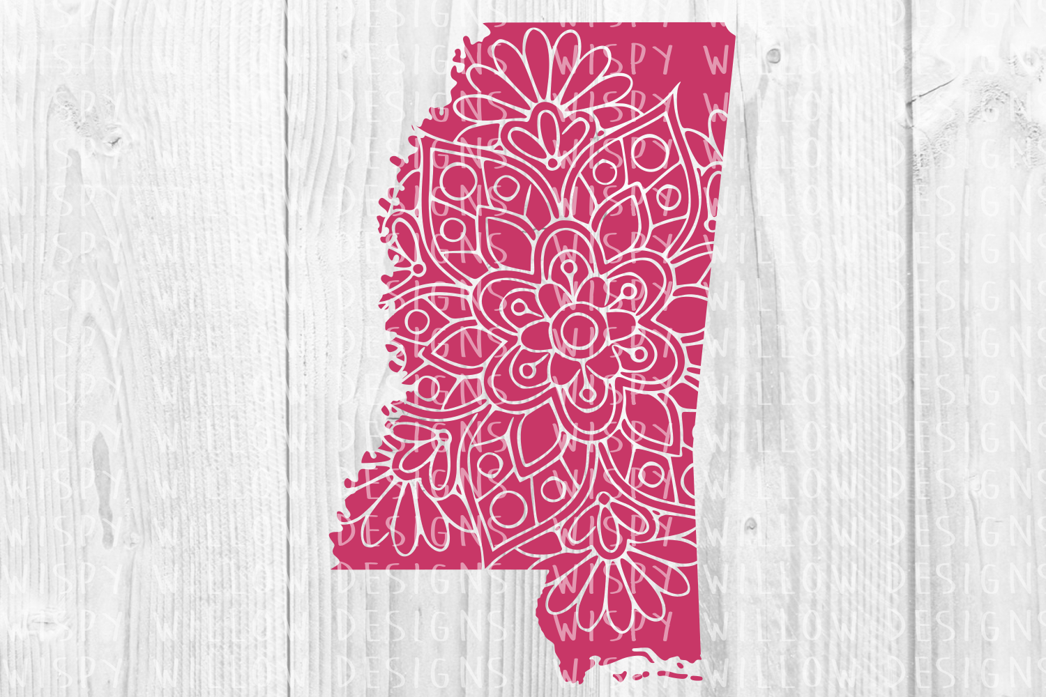 Download Free Mississippi Mi Floral Mandala State Cut File Graphic By for Cricut Explore, Silhouette and other cutting machines.