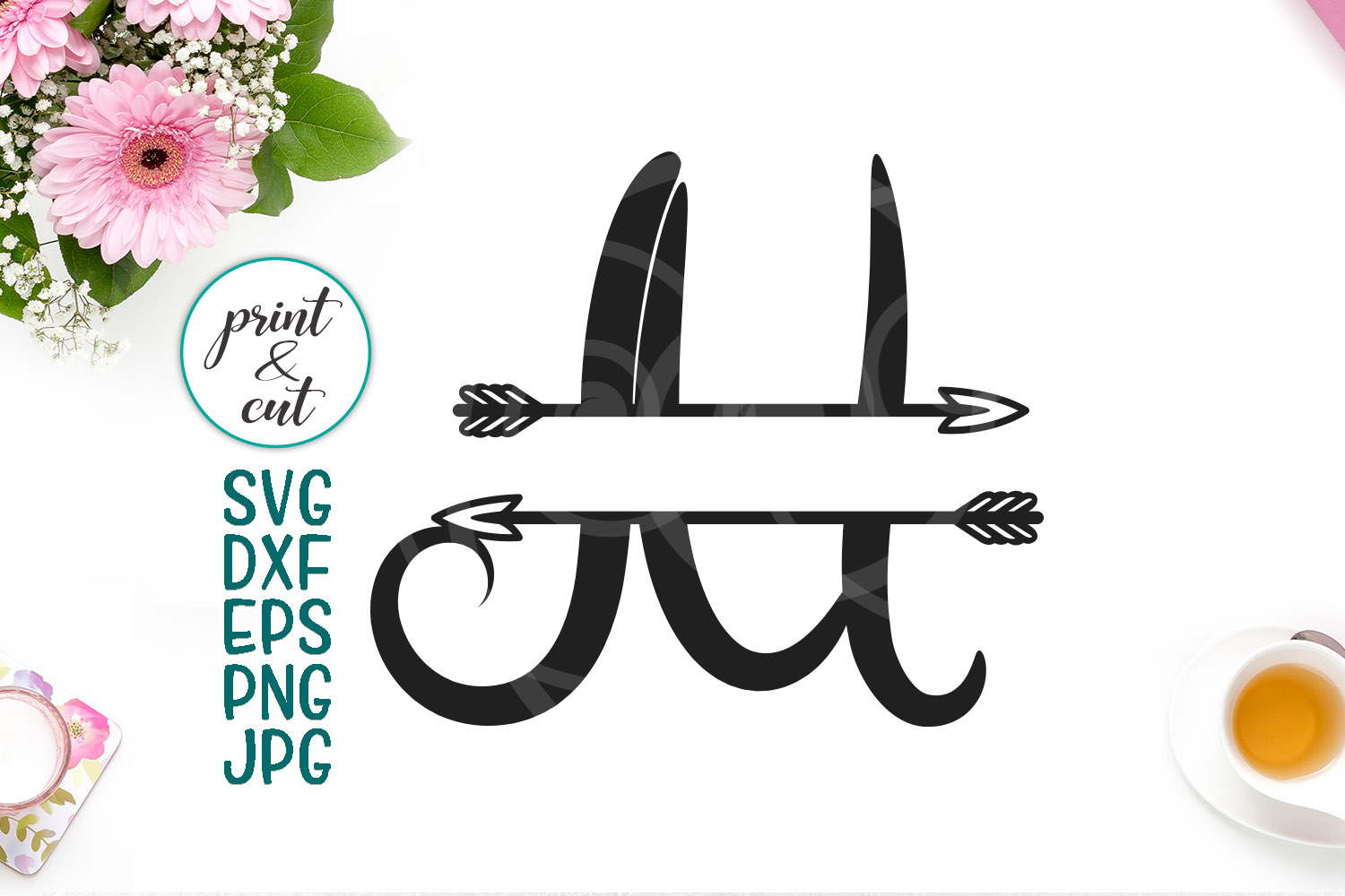 Download Free Monogram Letter M Svg File Split Font With Arrows Graphic By for Cricut Explore, Silhouette and other cutting machines.