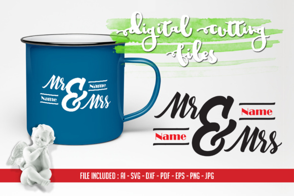 Mr & Mrs Cutting Files - AI SVG DXF PDF EPS PNG JPG Graphic Crafts By Home Crafter Design.co